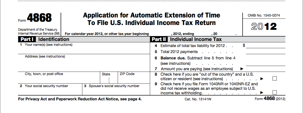 Apply For An Extension Of Time To File Your Tax Return